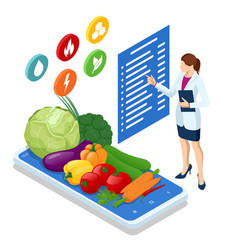 Isometric healthy food and diet doctor s vector