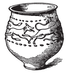 Jar of castor ware with reliefs of a stag pursued vector