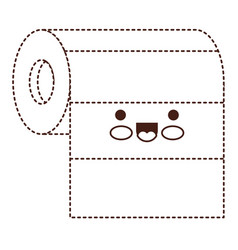 Kawaii roll paper towel in brown dotted silhouette vector