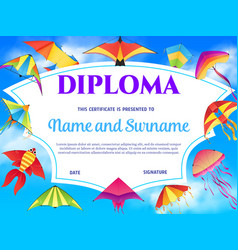 Kids diploma or certificate template with kites vector