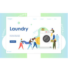 laundry website landing page design vector image