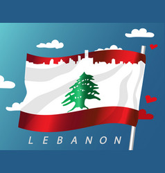 lebanon waving flag with cityscape and vector image