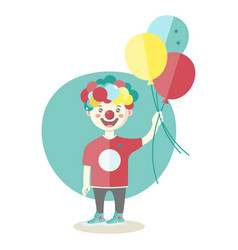 Little boy wearing clown nose with air baloons vector