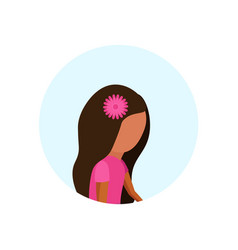 little girl profile avatar isolated cute female vector image