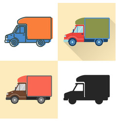 luton truck icon set in flat and line styles vector image