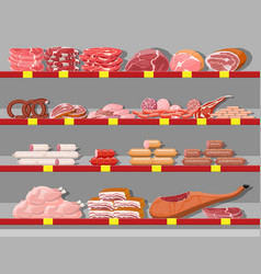 meat products in supermarket shelf vector image