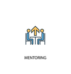 Mentoring concept 2 colored line icon simple vector