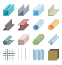 Metallurgy products icons Isometric 3d vector