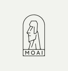 Moai sculpture emblem minimalist line art logo vector