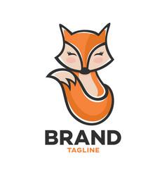 Modern logo childrens hand-drawn character fox vector