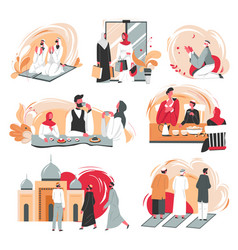 muslim people daily life praying and chatting vector image