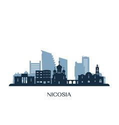 Nicosia skyline monochrome silhouette vector