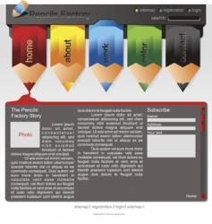 Pencils website template vector