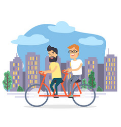 people riding bicycle together in city vector image