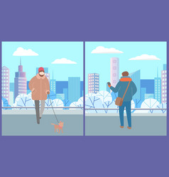 people walking in city high building town vector image
