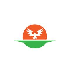 phoenix shape in sun for logo design vector image