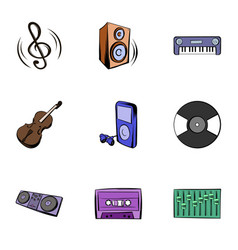 playing music icons set cartoon style vector image