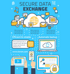 Poster for secure online data exchange vector