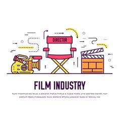Premium quality cinema industry thin line design vector