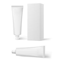 realistic white cosmetic cream and packaging tube vector image