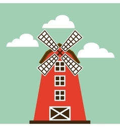 red barn icon vector image