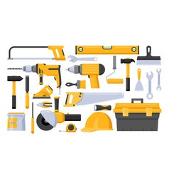 repair worker tools set vector image