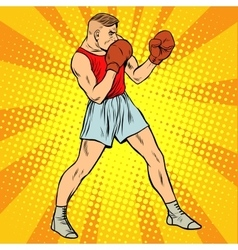 Retro boxer in fighting stance vector image