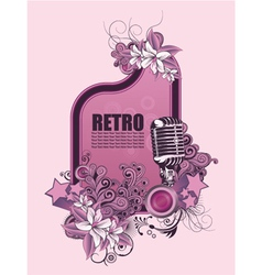 retro music frame with microphone vector image