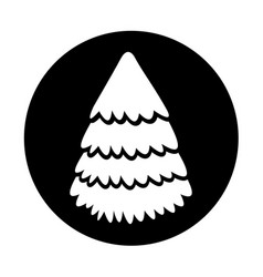 Round icon christmas tree vector