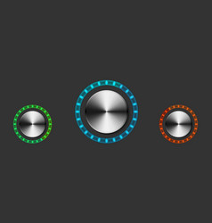 round metal volume controls with backlight vector image