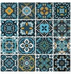 Seamless damask pattern abstract tiles set vector