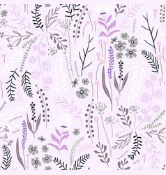 seamless floral pattern with hand drawn plants vector image