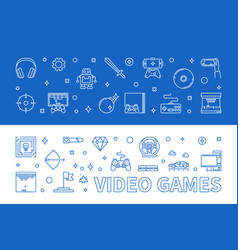 Set 2 video games outline banners vector