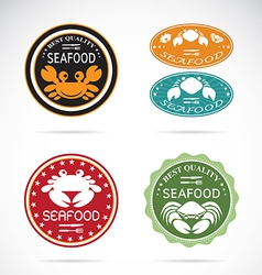 Set an crab seafood label vector