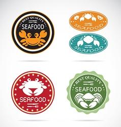 Set an crab seafood label vector