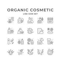 Set line icons organic cosmetic vector