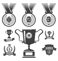set medal icons trophy first place icons vector image