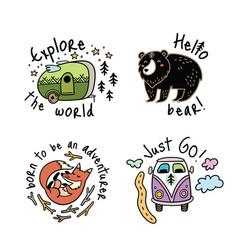 set of cartoon emblems logos or badges for vector image