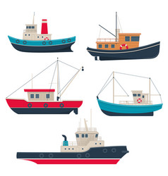 Set of different fishing boats and tug boats vector