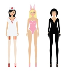 Sexy women in erotic role play costumes vector