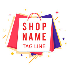 shop name tag line colorful shopping bag im vector image