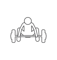 Silhouette with man weightlifting down vector