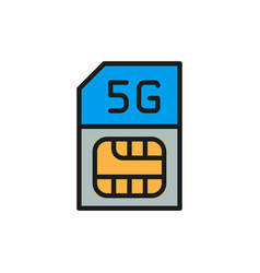 sim card with fast 5g internet flat color line vector image