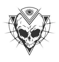 Skull is an alien and all-seeing eye vector