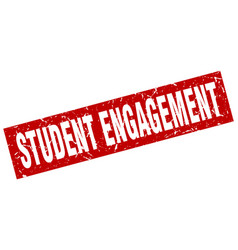Square grunge red student engagement stamp vector
