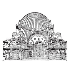 St sophia cross section vintage engraving vector