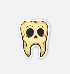 Sticker skull tooth vector