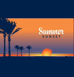 summer tropical banner with palms at sunset vector image