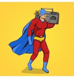 Superhero with radio cassette player vector image