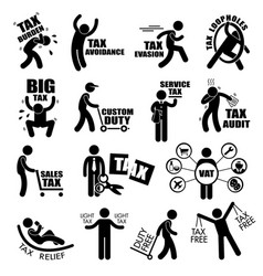 taxpayer income tax concept stick figure vector image